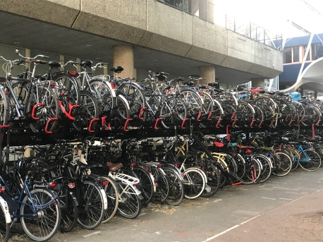 Bike parking at a train station
